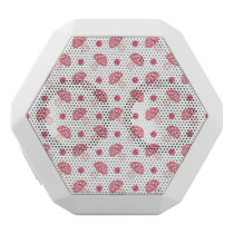 watercolor cute red mushrooms and polka dots white bluetooth speaker