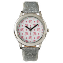 watercolor cute red mushrooms and polka dots wrist watches