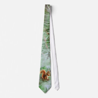 Watercolor Cute Red Squirrel Animal Nature Art Neck Tie
