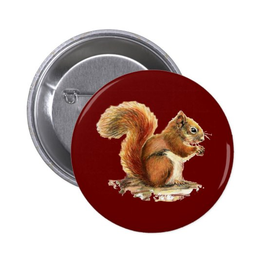 Watercolor Cute Red Squirrel Animal Nature Button