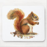 Watercolor Cute Red Squirrel Animal Nature Mouse Pad