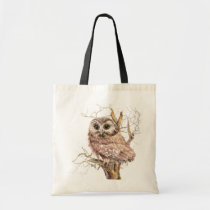 Watercolor Cute Saw Whet Owl, Bird Tote Bag