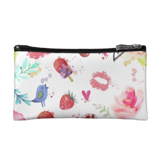 Watercolor Cute Summer Eements Small Cosmetic  Bag