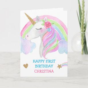 Watercolor Cute Unicorn Personalized Girl Birthday Card
