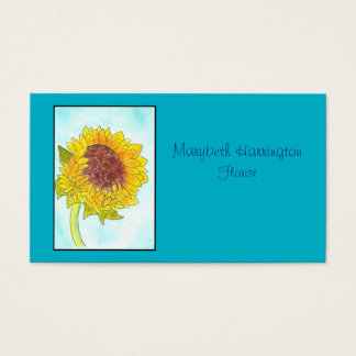 Watercolor Cute Yellow Sunflower Business Card