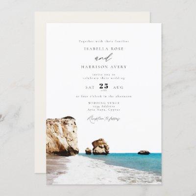 Watercolor Cyprus Aphrodite Beach Ocean Wedding Invitation