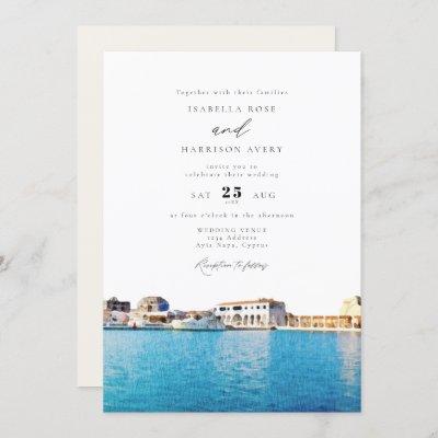 Watercolor Cyprus Skyline Beach Ocean Wedding Invitation