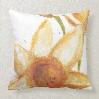 Watercolor Daffodil Throw Pillow