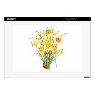 "Watercolor daffodils bouquet 15"" laptop skin"