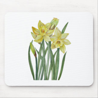 Watercolor Daffodils Flower Portrait Illustration Mouse Pad