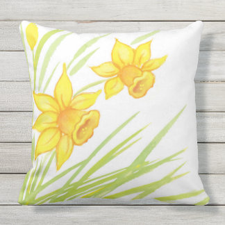 Watercolor Daffodils Outdoor Pillow
