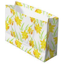 Watercolor Daffodils Pattern Large Gift Bag