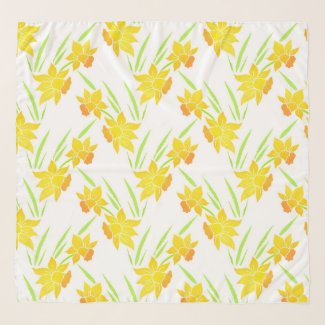 Watercolor Daffodils Pattern Scarf