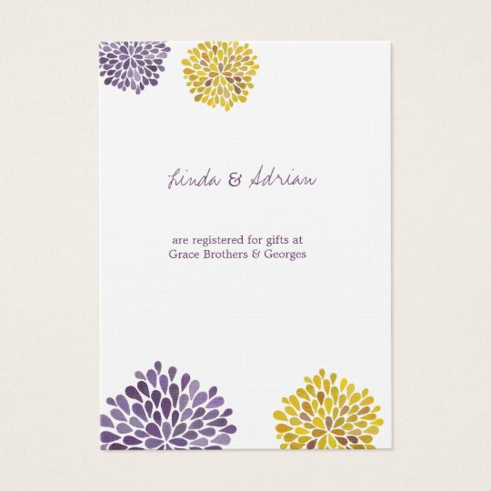 Watercolor Dahlia Flowers Wedding Enclosure Cards