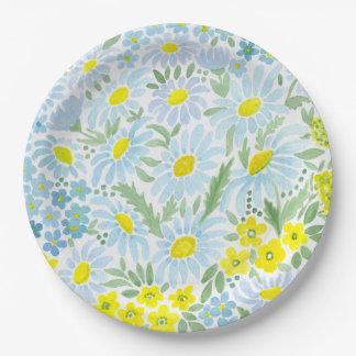 Watercolor daisies paper plate