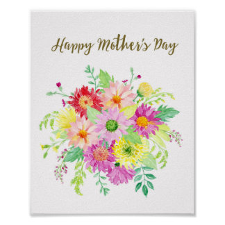 Watercolor Daisy bouquet Happy Mother's Day Poster