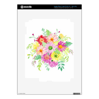 Watercolor daisy bouquet skins for iPad 3