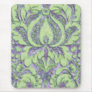 Watercolor Damask Mouse Pad