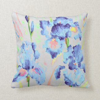 Watercolor Dark Blue Iris Cushion Throw Pillows