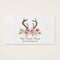 Watercolor Deer Antlers Wildflowers Faux Bois Business Card
