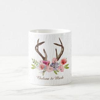 Watercolor Deer Antlers Wildflowers Faux Bois Coffee Mug