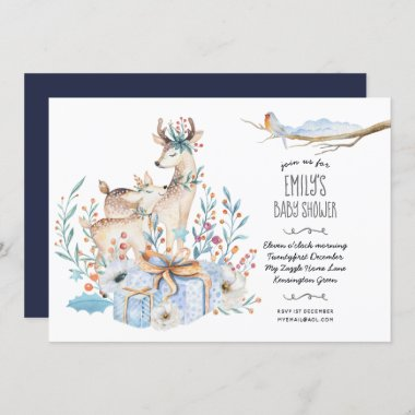 Watercolor DEER Baby Shower Christmas Blue Floral Invitation