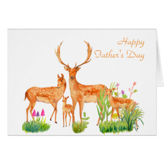 Watercolor Deer Family Father's day Card