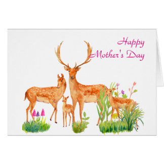 Watercolor Deer Family Mother's day Card