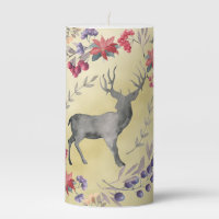 Watercolor Deer Winter Berries Gold Pillar Candle
