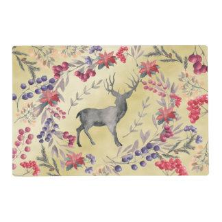 Watercolor Deer Winter Berries Gold Placemat