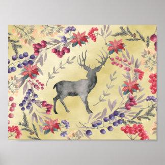 Watercolor Deer Winter Berries Gold Poster