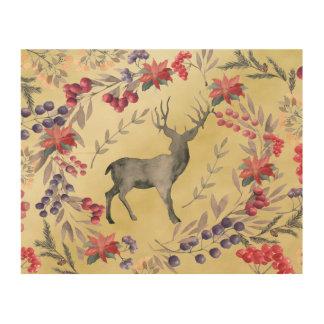 Watercolor Deer Winter Berries Gold Wood Wall Decor