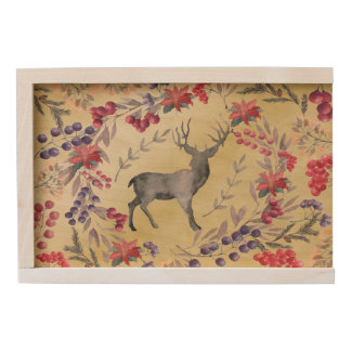 Watercolor Deer Winter Berries Gold Wooden Keepsake Box