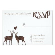 Watercolor deers RSVP Card
