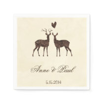 Watercolor deers Wedding Napkin