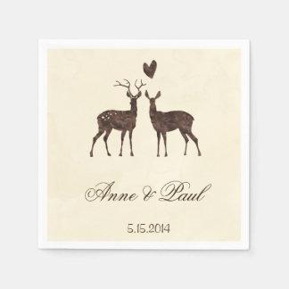 Watercolor deers Wedding Napkin