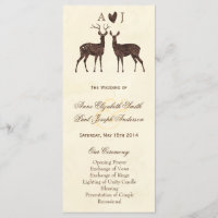 Watercolor Deers Wedding Program