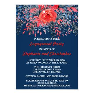 Watercolor Denim Blue Rose Engagement Party Card