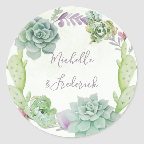 Watercolor Desert Cactus Succulents Wedding Classic Round Sticker