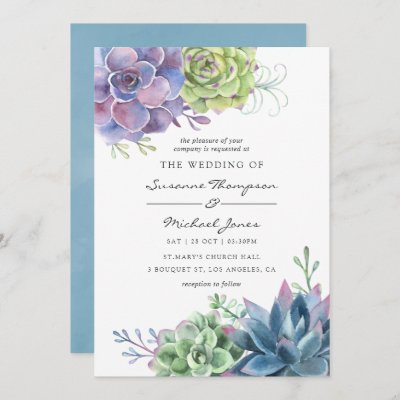 Watercolor Desert Cactus Succulents Wedding Invitation