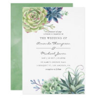 Watercolor Desert Cactus Succulents Wedding Invite