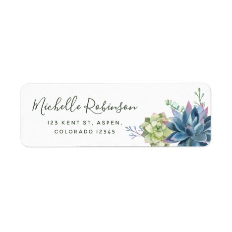Watercolor Desert Cactus Succulents Wedding Label