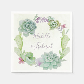 Watercolor Desert Cactus Succulents Wedding Paper Napkin