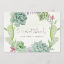 Watercolor Desert Cactus Succulents Wedding Thanks Thank You Card