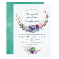 Watercolor Desert Succulents Wedding Invitation