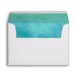 Watercolor Destination Beach Lined Wedding Envelope