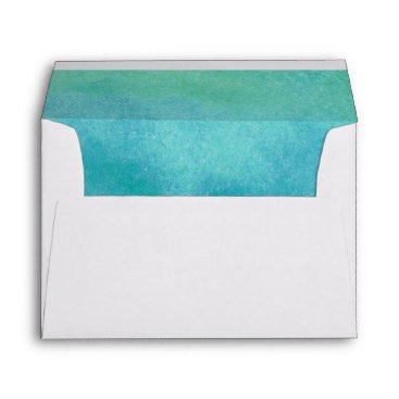 Beach Themed Watercolor Destination Beach Lined Wedding Envelope