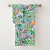 Watercolor Dinosaur Camping Kids Bath Towel Set