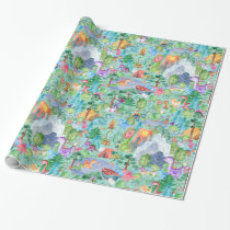 Watercolor Dinosaur Camping Kids Pattern Wrapping Paper