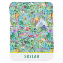 Watercolor Dinosaur Camping Kids Personalized Baby Blanket